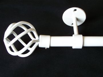 19mm Gloss White Ceiling Eyelet Curtain Pole with Twisted Cage Finials 1.2m 1.5m 2.4m 3m